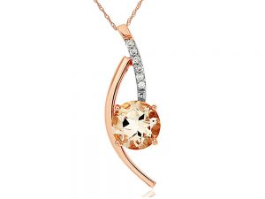 This charming Morganite Pendant features 0.05 ct of Diamond and 1.1 ct of Morganite. The Pendant is made of 14K Rose Gold