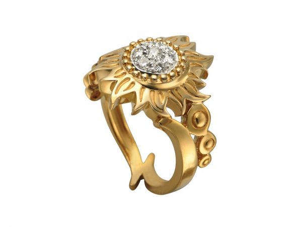 newDA12057 030101 Sol y Sombra ring in yellow gold withdiamonds
