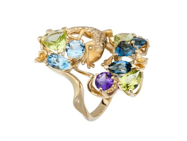 newDA14100 019925 Gecko maxi ring in yellow gold, olivines, topazes and amethyst