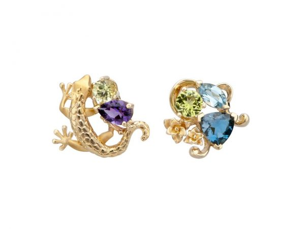 newDA14103 019925 Gecko mini earrings in yellow gold, olivines, topazes and amethyst