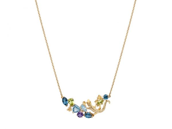 newDA14105 019925 Gecko necklace in yellow gold, olivines, topazes and amethyst
