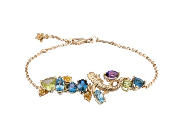 newDA14107 019925 Gecko bracelet in yellow gold, olivines, topazes and amethyst