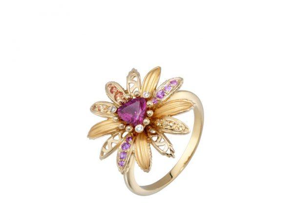 newDA14150 019925 Margarita mini ring in yellow gold, orange sapphires, pink sapphires, tour