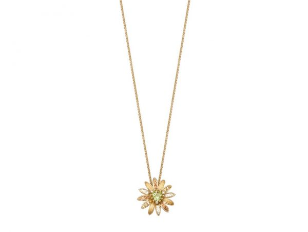 newDA14152 010902 Margarita mini necklace in yellow gold, orange sapphires, olivine and diam