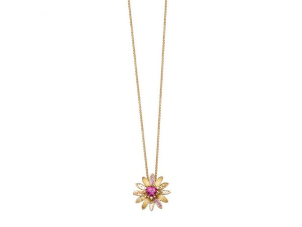 newDA14152 019925 Margarita mini necklace in yellow gold, orange sapphires, pink sapphires a