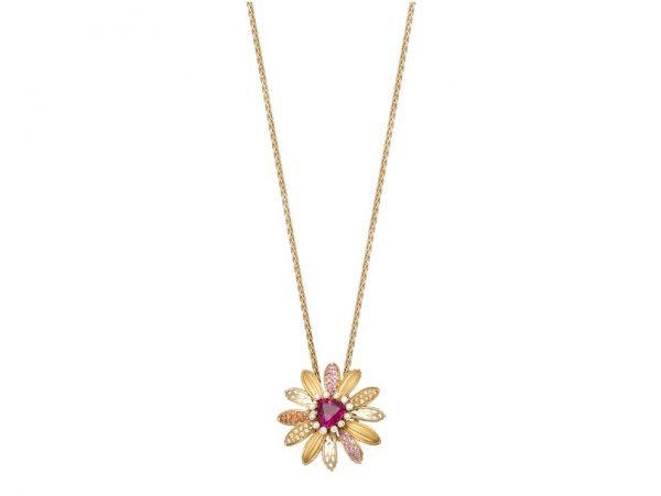 newDA14155 019925 Margarita maxi necklace in yellow gold, pink sapphires, orange sapphires,
