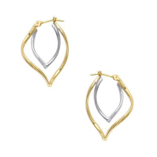 14kt Two Tone Gold Double Curved Shape Hoop Earrings