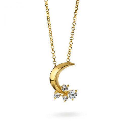 Atelier Swarovski Diama Glacial Crescent Necklace, 18K Yellow Gold | Joes Jewelry St Maarten