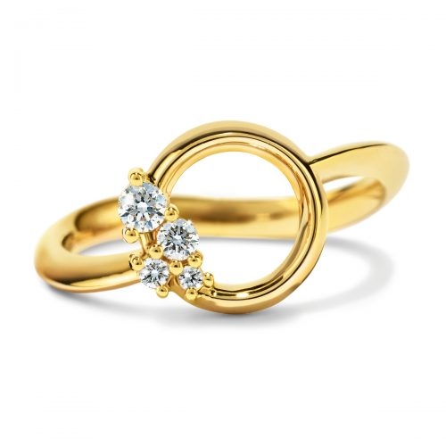 Atelier Swarovski Glacial Wave Ring, 18K Yellow Gold | Joes Jewelry St Maarten